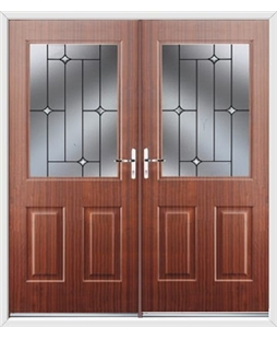 Windsor French Rockdoor in Mahogany with Crystal Bevel