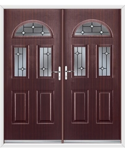 Tennessee French Rockdoor in Mahogany with Crystal Bevel