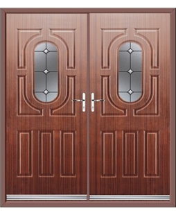 Arcacia French Rockdoor in Mahogany with Crystal Bevel