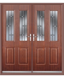 Jacobean French Rockdoor in Mahogany with Crystal Bevel