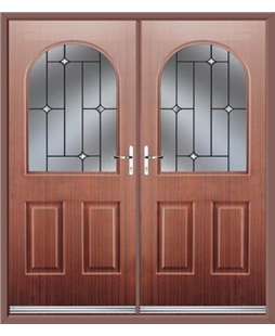 Kentucky French Rockdoor in Mahogany with Crystal Bevel