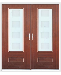 Vogue French Rockdoor in Mahogany with Cube Glazing