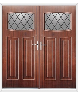Newark French Rockdoor in Mahogany with Diamond Lead
