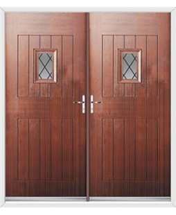 Cottage Spy View French Rockdoor in Mahogany with Diamond Lead