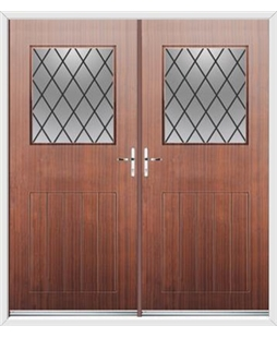 Cottage View Light French Rockdoor in Mahogany with Diamond Lead