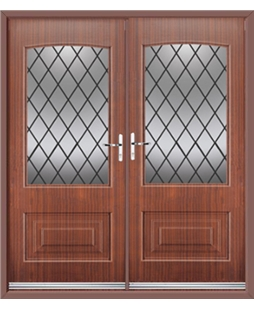 Portland French Rockdoor in Mahogany with Diamond Lead