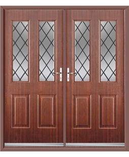 Jacobean French Rockdoor in Mahogany with Diamond Lead