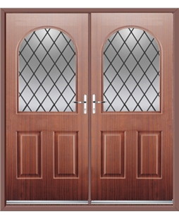 Kentucky French Rockdoor in Mahogany with Diamond Lead