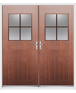 Cottage View Light French Rockdoor in Mahogany with Georgian Bar Woodgrain