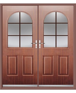 Kentucky French Rockdoor in Mahogany with Woodgrain Georgian Bar
