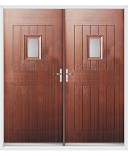 Cottage Spy View French Rockdoor in Mahogany with Glazing