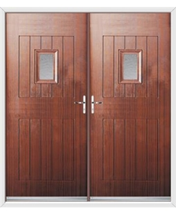 Cottage Spy View French Rockdoor in Mahogany with Gluechip Glazing
