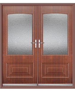 Portland French Rockdoor in Mahogany with Gluechip Glazing