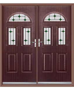 Tennessee French Rockdoor in Mahogany with Green Diamonds