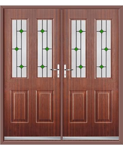 Jacobean French Rockdoor in Mahogany with Green Diamonds
