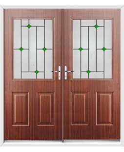 Windsor French Rockdoor in Mahogany with Green Diamonds