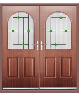 Kentucky French Rockdoor in Mahogany with Green Diamonds