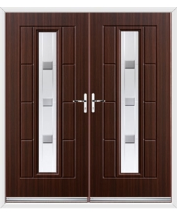 Vermont French Rockdoor in Mahogany with Grey Shades