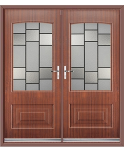 Portland French Rockdoor in Mahogany with Horizon