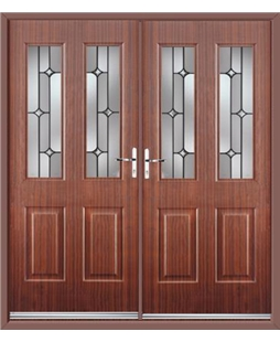 Jacobean French Rockdoor in Mahogany with Linear