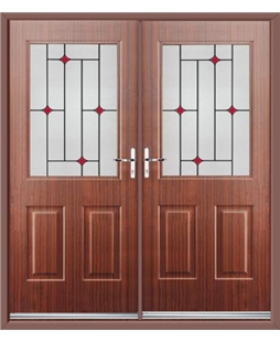 Windsor French Rockdoor in Mahogany with Red Diamonds