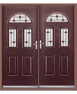 Tennessee French Rockdoor in Mahogany with Red Diamonds