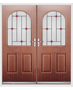 Kentucky French Rockdoor in Mahogany with Red Diamonds