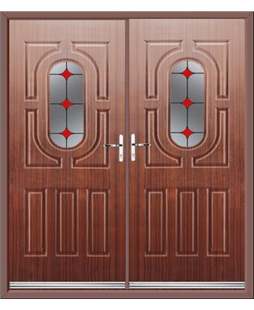Arcacia French Rockdoor in Mahogany with Red Diamonds
