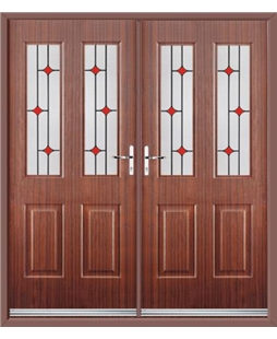 Jacobean French Rockdoor in Mahogany with Red Diamonds
