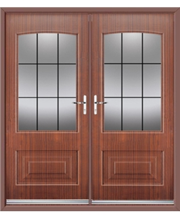 Portland French Rockdoor in Mahogany with Square Lead