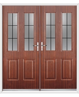 Jacobean French Rockdoor in Mahogany with Square Lead