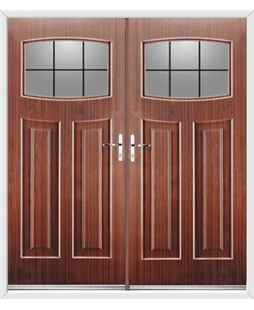 Newark French Rockdoor in Mahogany with Square Lead