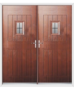Cottage Spy View French Rockdoor in Mahogany with Square Lead