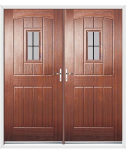 English Cottage French Rockdoor in Mahogany with Square Lead