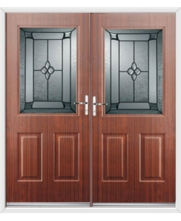 Windsor French Rockdoor in Mahogany with Titania Glazing