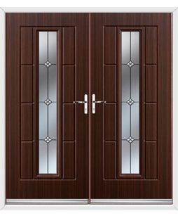 Vermont French Rockdoor in Mahogany with Trio