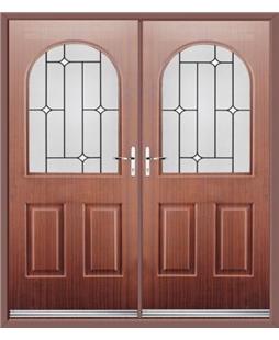 Kentucky French Rockdoor in Mahogany with White Diamonds