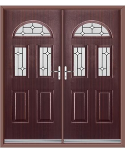 Tennessee French Rockdoor in Mahogany with White Diamonds