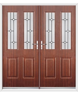 Jacobean French Rockdoor in Mahogany with White Diamonds