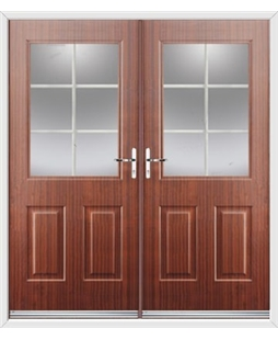 Windsor French Rockdoor in Mahogany with White Georgian Bar
