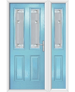 The Cardiff Composite Door in Blue (Duck Egg) with Milan Glazing and Matching Side Panel