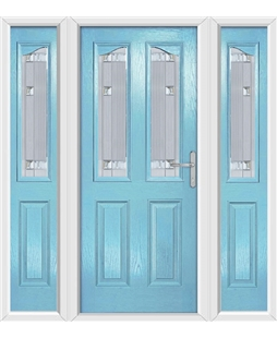 The Birmingham Composite Door in Blue (Duck Egg) with Milan Glazing and matching Side Panels