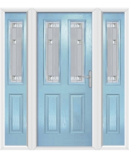 The Cardiff Composite Door in Blue (Duck Egg) with Milan Glazing and matching Side Panels
