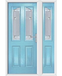The Birmingham Composite Door in Blue (Duck Egg) with Milan Glazing and Matching Side Panel