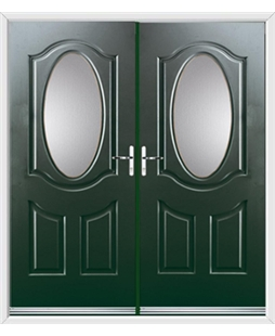 Montana French Rockdoor in Emerald Green with Glazing