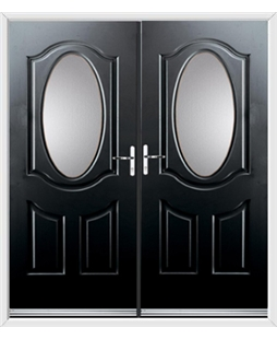 Montana French Rockdoor in Onyx Black with Glazing