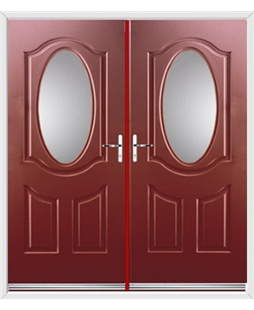 Montana French Rockdoor in Ruby Red with Glazing