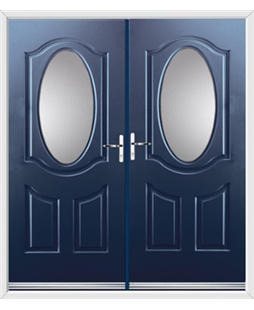 Montana French Rockdoor in Sapphire Blue with Glazing