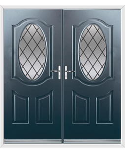 Montana French Rockdoor in Anthracite Grey with Diamond Lead