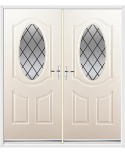 Montana French Rockdoor in Cream with Diamond Lead